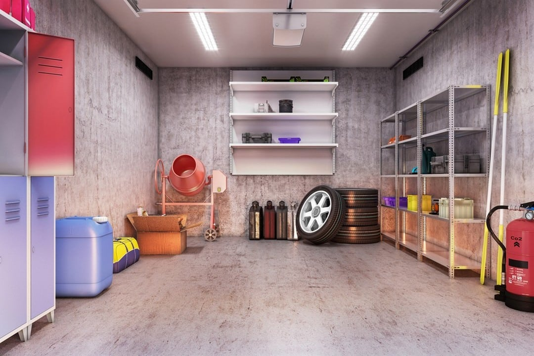 Vue intérieure d'un garage